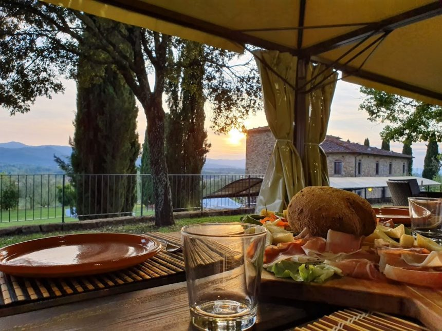 Tuscan snack at sunset